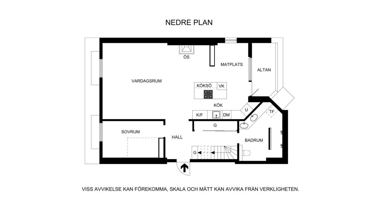 Planritning nedre plan Bondegatan 74A, vindsetage