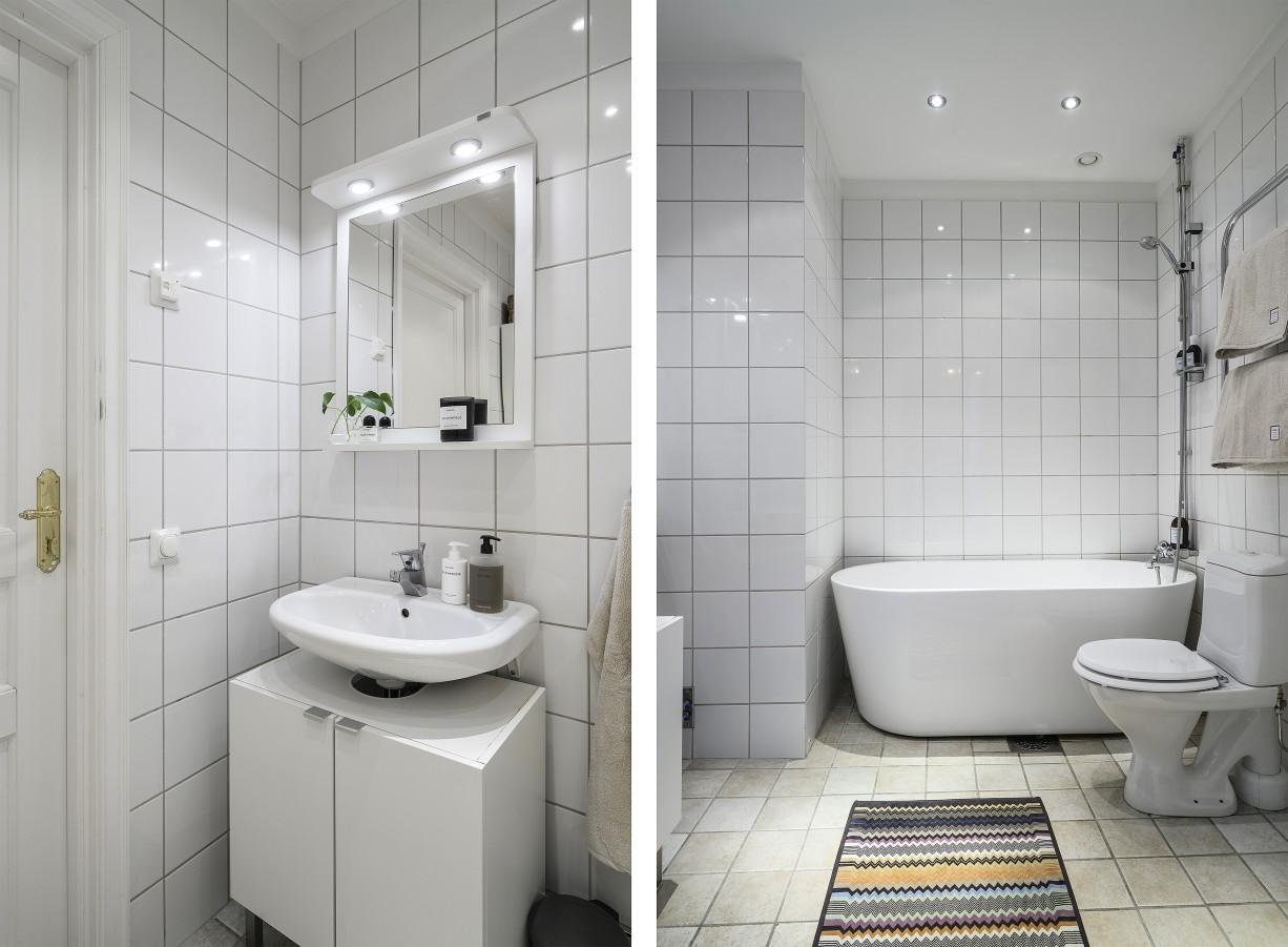 Stora badrummet med badkar och fördraget för tvättmaskin Hantverkargatan 7