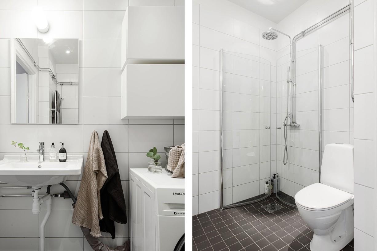 Stilfullt badrum med takdusch och tvättmaskin Torsgatan 59, 5 tr / Karlbergsvägen