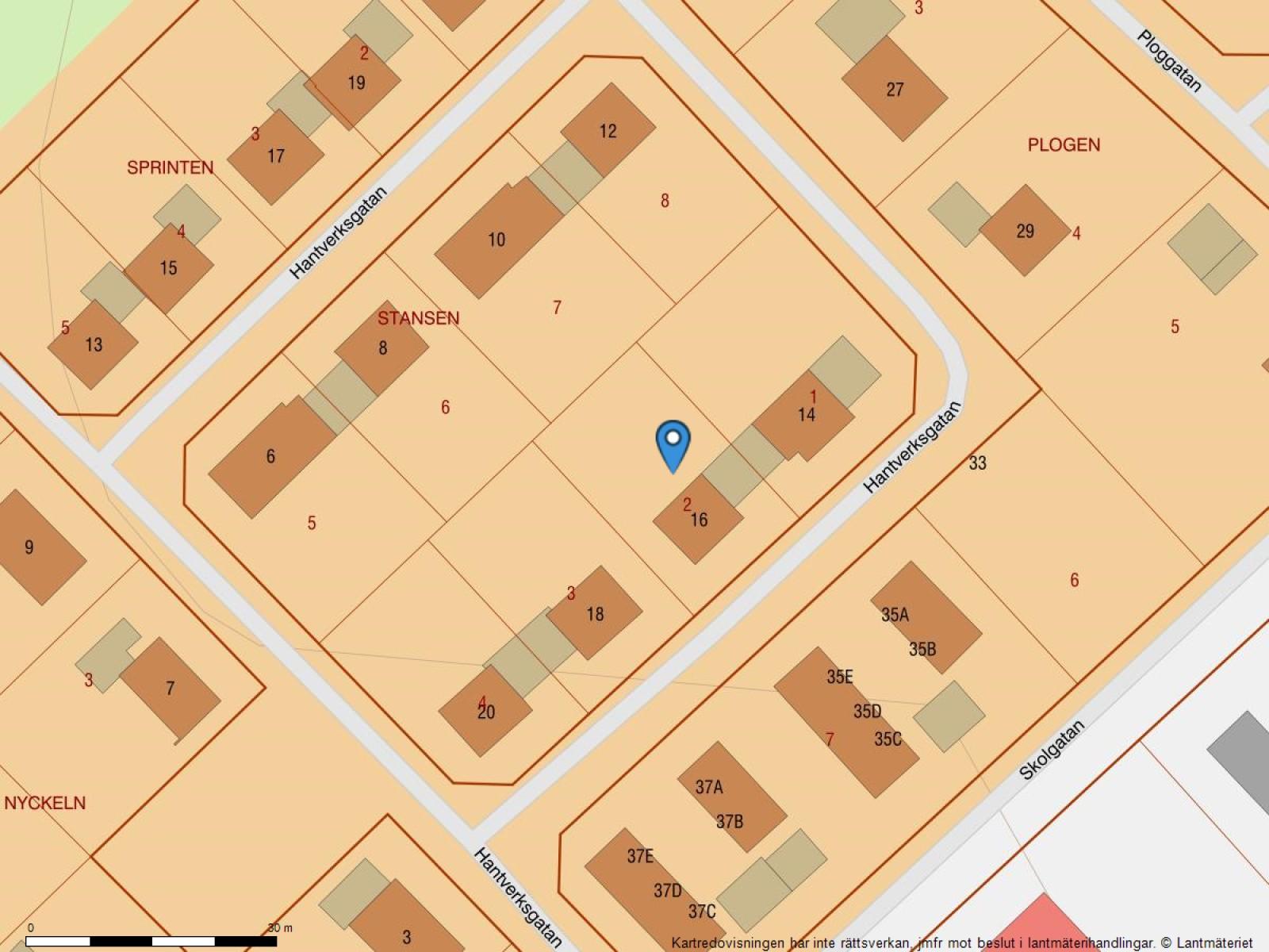 Fastighetskarta Hantverksgatan 16