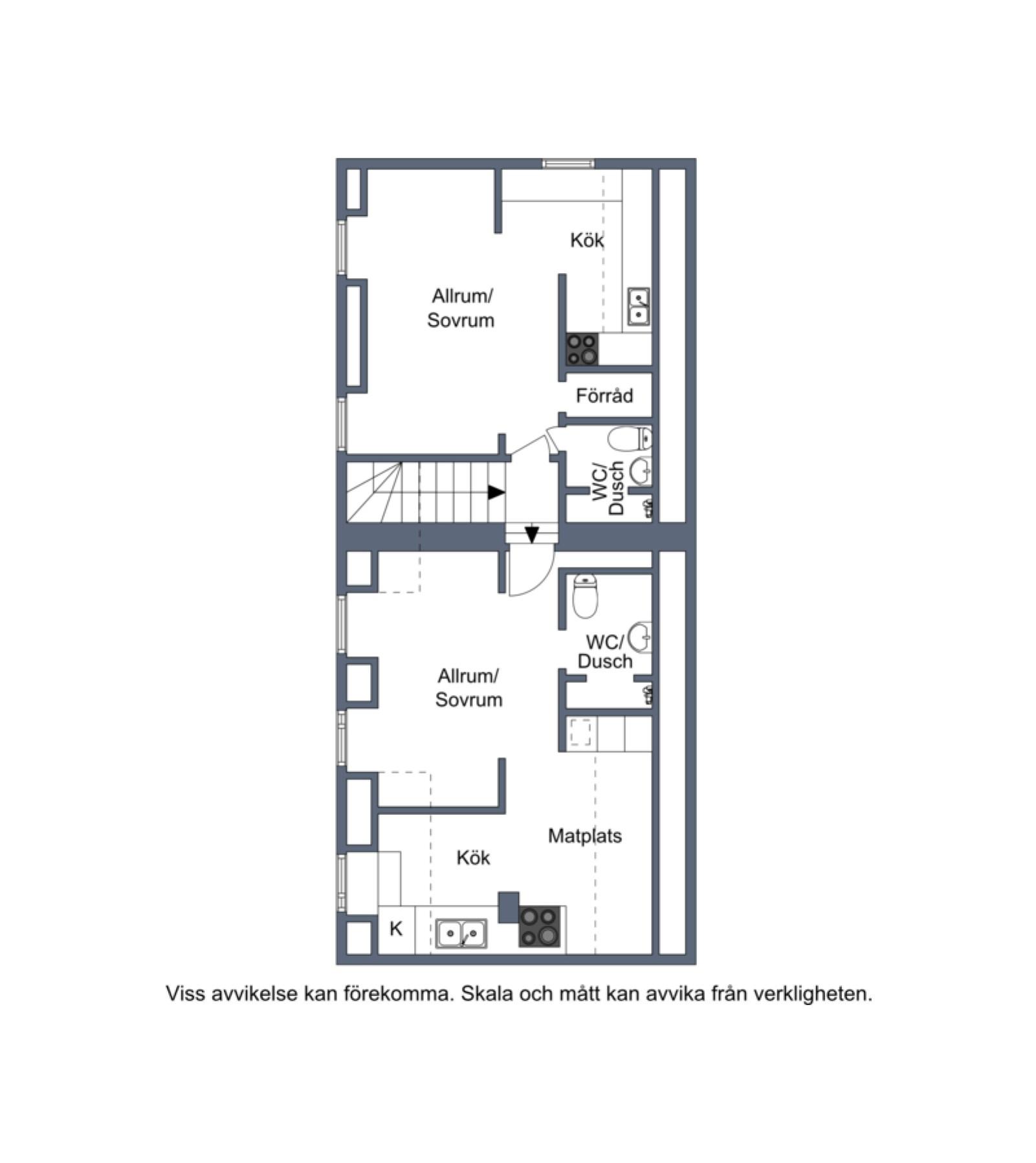 Övre plan gårdshus Vårdklockegatan 6 och 8