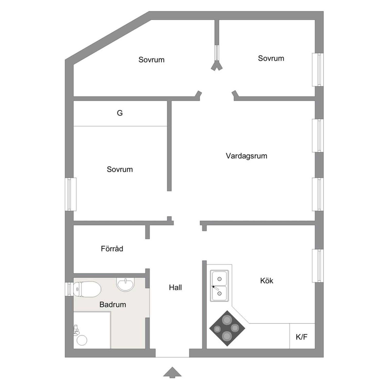 Planritning Södra kyrkogatan 2B