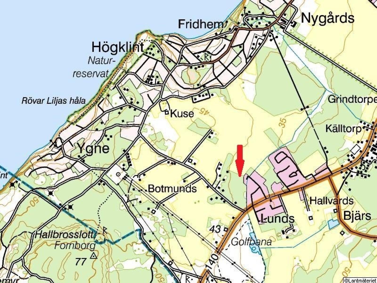 Terrängkarta  Västerhejde Hallbrosvägen 3A